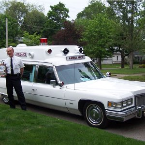 "1975 Cadillac Superior 54"" Ambulance purchased from Peter Orioles in New York. It is believed that the car saw actual service in New Jersey."