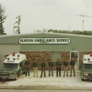 Acadian Ambulance Units in Morgan City.  One 5 beacon Cadillac Superior and one single beacon Pontiac Superior...